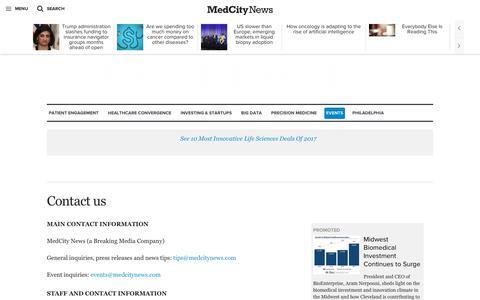 Screenshot of Contact Page medcitynews.com - Contact us - MedCity News - captured July 13, 2018