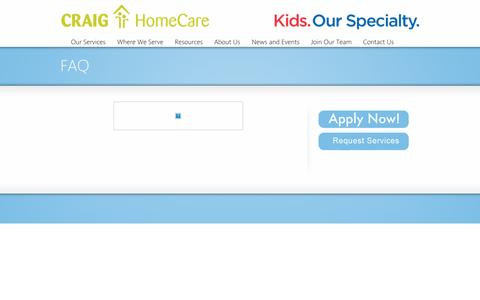 Screenshot of FAQ Page craighomecare.com - FAQ | Craig HomeCare - captured July 17, 2016