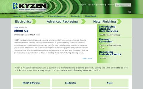 Screenshot of About Page kyzen.com - About KYZEN Advanced Cleaning Technologies - captured Oct. 16, 2018
