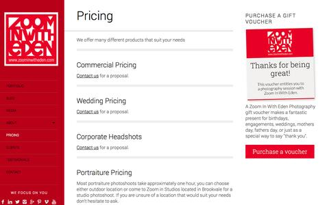 Screenshot of Pricing Page zoominwitheden.com - Pricing - Zoom In With Eden // Photography // Videography - captured Oct. 7, 2014