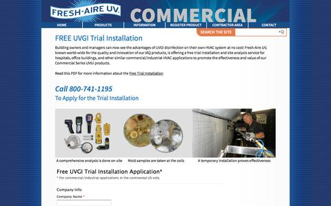 Screenshot of Trial Page freshaireuv.com - Commercial Free Trial   Fresh-Aire UV - captured Aug. 4, 2016