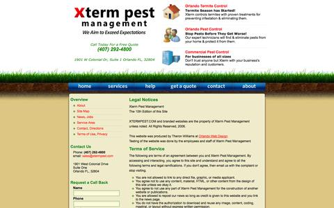 Screenshot of Privacy Page Terms Page xtermpest.com - Orlando Pest Control / Xterm Pest Management / Legal Scope and Notice - captured Oct. 27, 2014