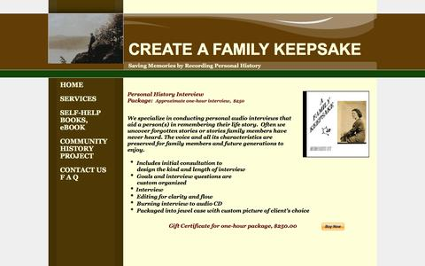 Screenshot of Services Page createafamilykeepsake.com - Personal History Interview Package - captured June 15, 2016