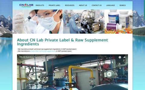 Screenshot of About Page cnlabnutrition.com - GMP Private Label Supplement & Raw Ingredients China | CN Lab - captured Sept. 25, 2018
