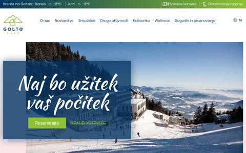 Screenshot of Home Page golte.si - Golte - mountain resort in Slovenia - captured Feb. 22, 2018
