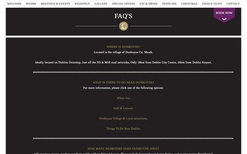Screenshot of FAQ Page dunboynecastlehotel.com - FAQ's - captured Oct. 9, 2018