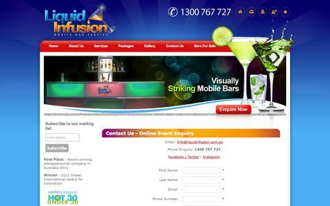 Screenshot of Contact Page liquidinfusion.com.au - Event catering enquiry - captured Nov. 2, 2014