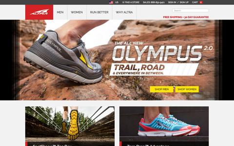Screenshot of Home Page altrarunning.com - Altra Running Shoes - Zero Limits | Altra Running Footwear - captured Dec. 24, 2015