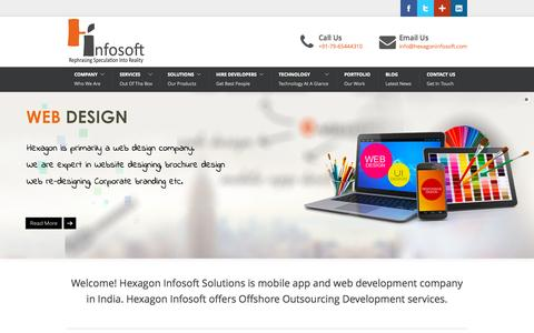 Screenshot of Home Page hexagoninfosoft.com - IPhone and Android Applications Developers, Web Development India - captured Oct. 1, 2015