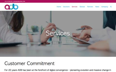 Screenshot of Services Page adbglobal.com - Services - ADB - captured Oct. 6, 2017