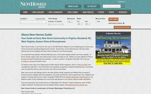 Screenshot of About Page newhomesguide.com - New Home Guide for Homes and Builders Virginia, WV, MD, Eastern Shore - captured Oct. 26, 2014