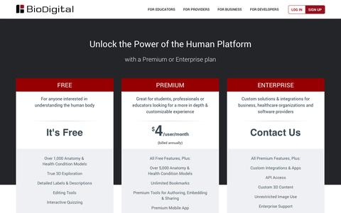 Screenshot of Pricing Page biodigital.com - BioDigital Human: Anatomy and Health Conditions in Interactive 3D - captured Sept. 13, 2014