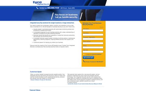 Screenshot of Landing Page tycois.com - Tyco Integrated Security: Business Security Systems & Security Services - captured Oct. 27, 2014