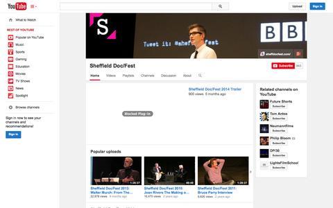 Screenshot of YouTube Page youtube.com - Sheffield Doc/Fest  - YouTube - captured Oct. 30, 2014