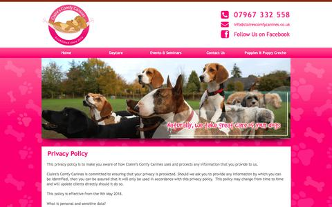 Screenshot of Privacy Page clairescomfycanines.co.uk - Privacy Policy : Claire Hunter - captured July 19, 2018
