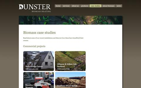 Screenshot of Case Studies Page dunster.biz - Dunster Biomass Heating | ETA boiler case studies - captured Oct. 13, 2017