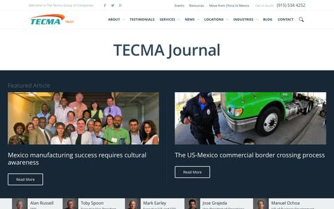 Screenshot of Blog tecma.com - Manufacturing Blog ••• Tecma Mexico - captured Sept. 23, 2014