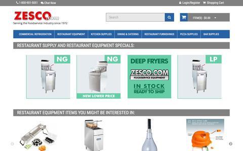 Screenshot of Home Page zesco.com - Restaurant Supply and Restaurant Equipment - ZESCO.com - captured Jan. 21, 2016