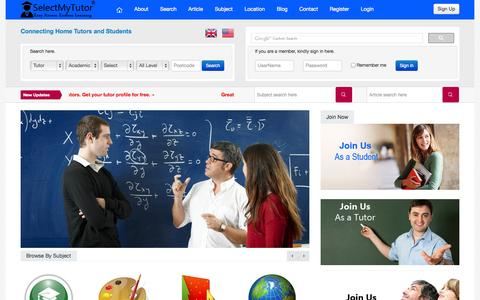 Screenshot of Home Page selectmytutor.co.uk - Find Private & Personal Tutors in UK for home tutoring - captured Sept. 30, 2014
