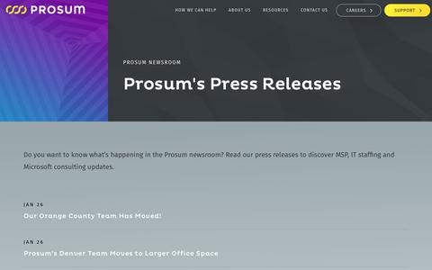 Screenshot of Press Page prosum.com - Prosum News – Prosum - captured Sept. 24, 2018