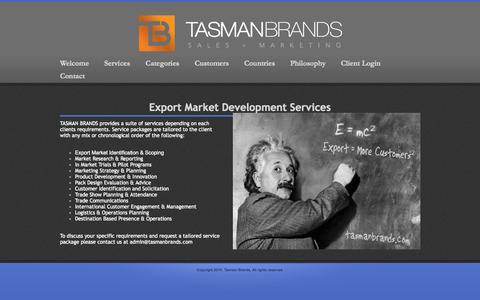 Screenshot of Services Page tasmanbrands.com - Services - captured Oct. 1, 2014