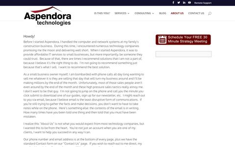 Screenshot of About Page aspendora.com - About Us - Aspendora Technologies - captured Oct. 4, 2018