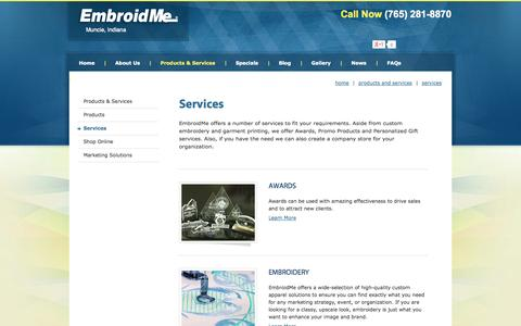 Screenshot of Services Page embroidme-muncie.com - Awards, Embroidery, Garment Printing, Company Stores, Personalized Gifts - captured Sept. 29, 2014
