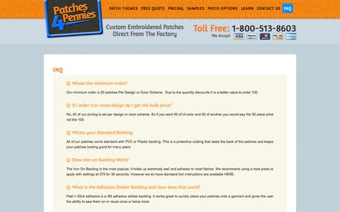Screenshot of FAQ Page patches4pennies.com - Frequently Asked Questions - Patches 4 Pennies - captured Oct. 1, 2014