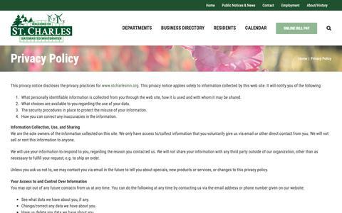 Screenshot of Privacy Page stcharlesmn.org - Privacy Policy, Privacy Policy Page - City of St. Charles - captured Sept. 28, 2018