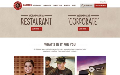 Screenshot of Jobs Page chipotle.com - Home - captured Dec. 2, 2016