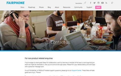 Screenshot of Contact Page fairphone.com - Contact us | Fairphone - captured June 16, 2015