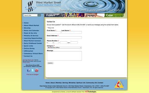 Screenshot of Contact Page wmsumc.org - West Market Street United Methodist Church - Greensboro, NC: Contact Us - captured Oct. 26, 2014