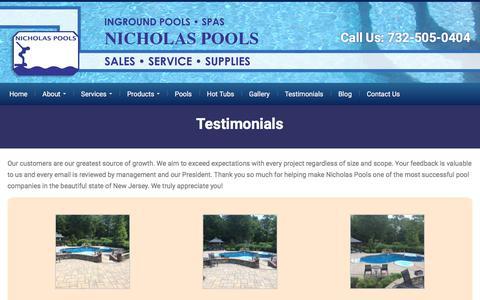 Screenshot of Testimonials Page nicholaspools.com - Testimonials - Inground Pools Toms River, NJ Swimming Pool, Spas Ocean County NJ - captured Oct. 21, 2017