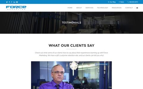 Screenshot of Testimonials Page forcemktg.com - Force Marketing   Dealership Testimonials and Reviews - captured Jan. 17, 2016