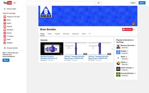 Screenshot of YouTube Page youtube.com - Brian Boulden  - YouTube - captured Oct. 23, 2014