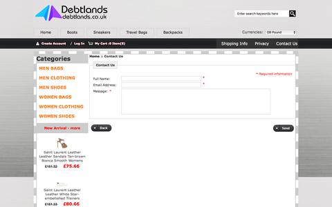 Screenshot of Contact Page debtlands.co.uk - Contact Us : MEN CLOTHING,MEN BAGS,WOMEN SHOES Sale - Up to 45% Off - captured June 4, 2017