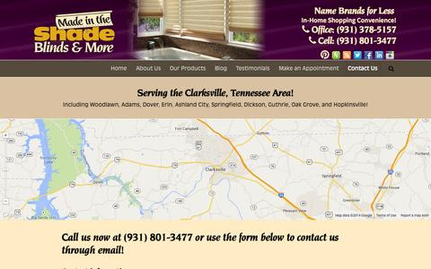 Screenshot of Contact Page madeintheshadeclarksville.com - Contact Made in the Shade Clarksville - captured Sept. 30, 2014