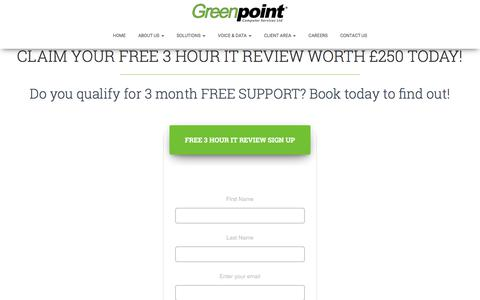 Screenshot of Trial Page gpoint.co.uk - 3 Months Free Trial | Managed It Services | Greenpoint Computer Services - captured Sept. 22, 2017