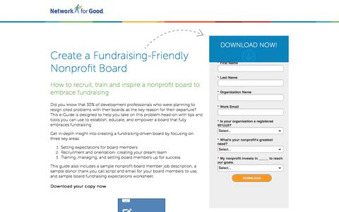 Screenshot of Landing Page networkforgood.com - Create a Fundraising-Friendly Nonprofit Board - captured Sept. 20, 2017