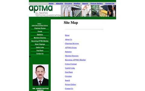 Screenshot of Site Map Page aptma.org.pk - SiteMap - APTMA <<Welcome Pakistan>> - captured Nov. 20, 2016