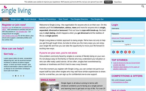 Screenshot of Home Page single-living.com - Single Living - the online community for singles - captured Aug. 14, 2015