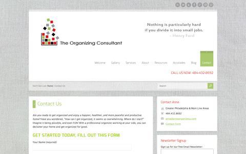 Screenshot of Contact Page annaorganizesu.com - Contact Us | Anna Organizes U - captured Oct. 6, 2014
