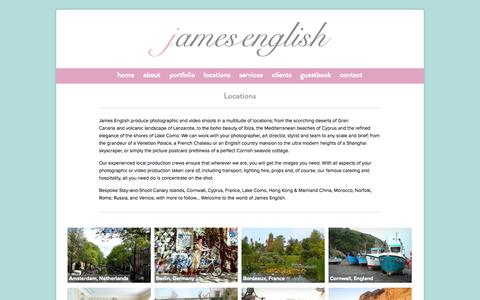 Screenshot of Locations Page jamesenglishproductions.com - Locations - James English - captured Oct. 6, 2014