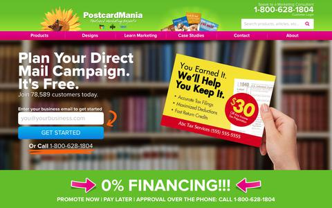 Screenshot of Home Page postcardmania.com - Plan Your Direct Mail Campaign FREE | Postcard Printing, Marketing & Advertising. - captured Feb. 19, 2018