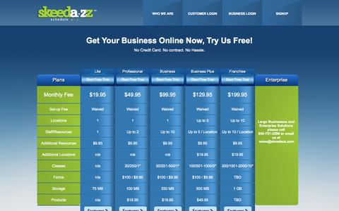 Screenshot of Pricing Page skeedazz.com - Skeedazz: Online Appointment Booking | Class Scheduling Software - captured Sept. 24, 2014