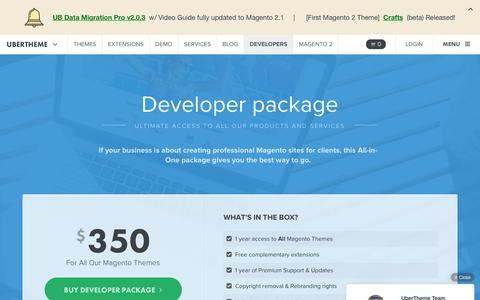 Screenshot of Developers Page ubertheme.com - Magento Developer package | UberTheme - captured July 2, 2016