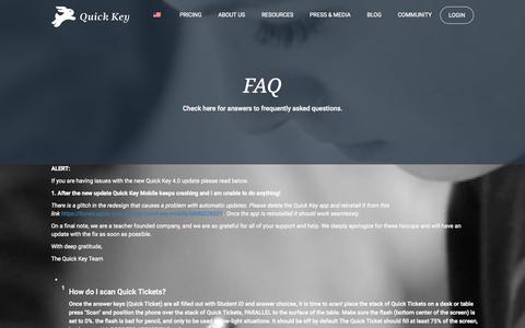 Screenshot of FAQ Page quickkeyapp.com - FAQ   Quick Key - captured Sept. 27, 2015