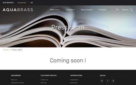 Screenshot of Press Page aquabrass.com - Press room - captured May 10, 2017