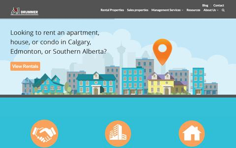 Screenshot of Home Page drummerrealty.com - Property Management Services Calgary -Drummer Realty - captured Jan. 8, 2016