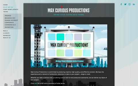 Screenshot of Services Page maxcurious.com - WHAT WE DO — Creative video services for television, web, & beyond! - captured Oct. 17, 2018